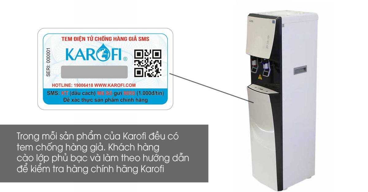 Cây nước nóng lạnh tích hợp lọc Karofi HCV351-W
