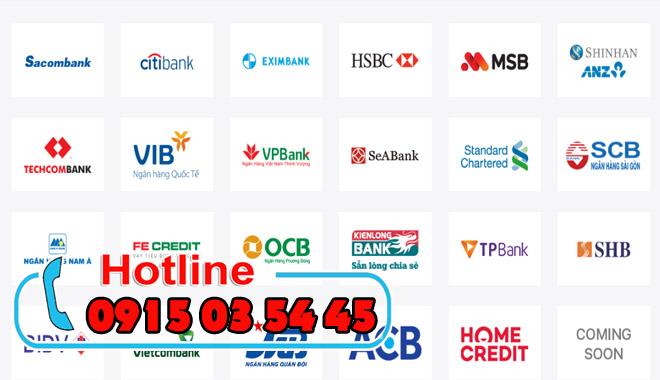 chấp nhận thanh toán trả góp của 23 ngân hàng