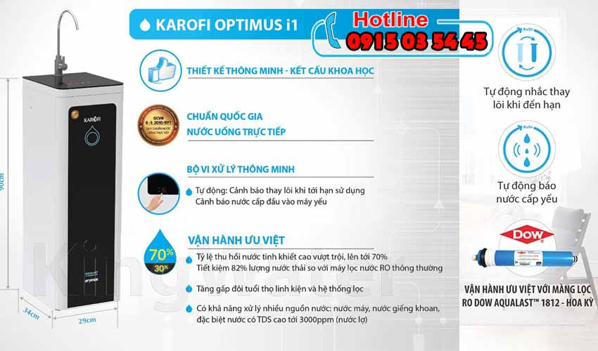 Máy lọc nước Karofi Optimus i1 O-i129/U+A 10 lõi